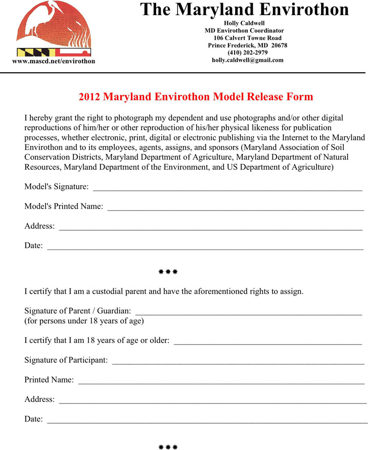 Maryland Model Release Form 3
