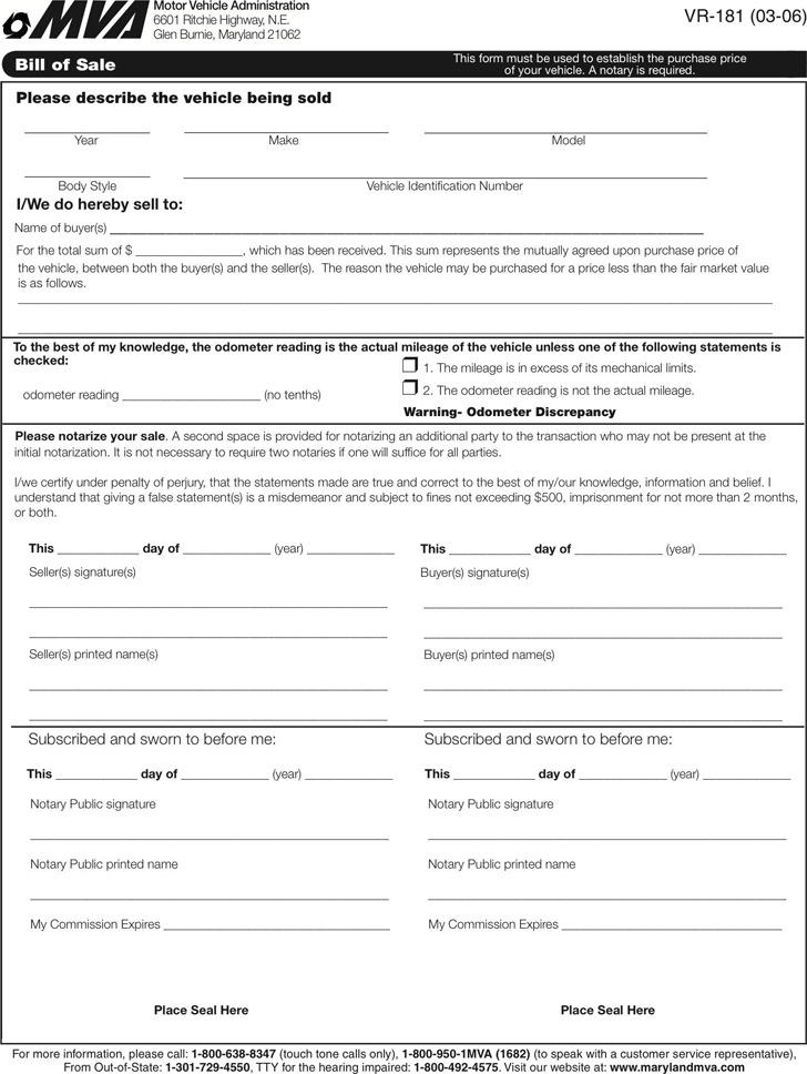 mva bill of sale Maryland Bill of Sale Form | Download Free