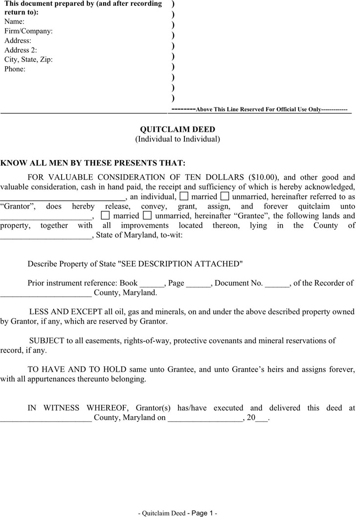 Maryland Quitclaim Deed Form