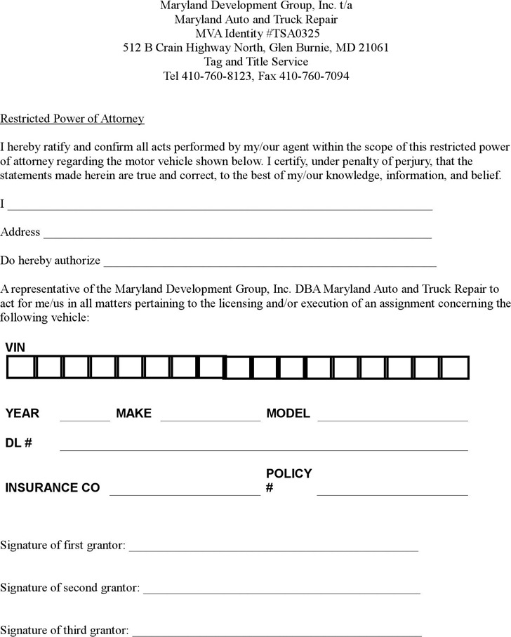 Maryland Restricted Power of Attorney Form