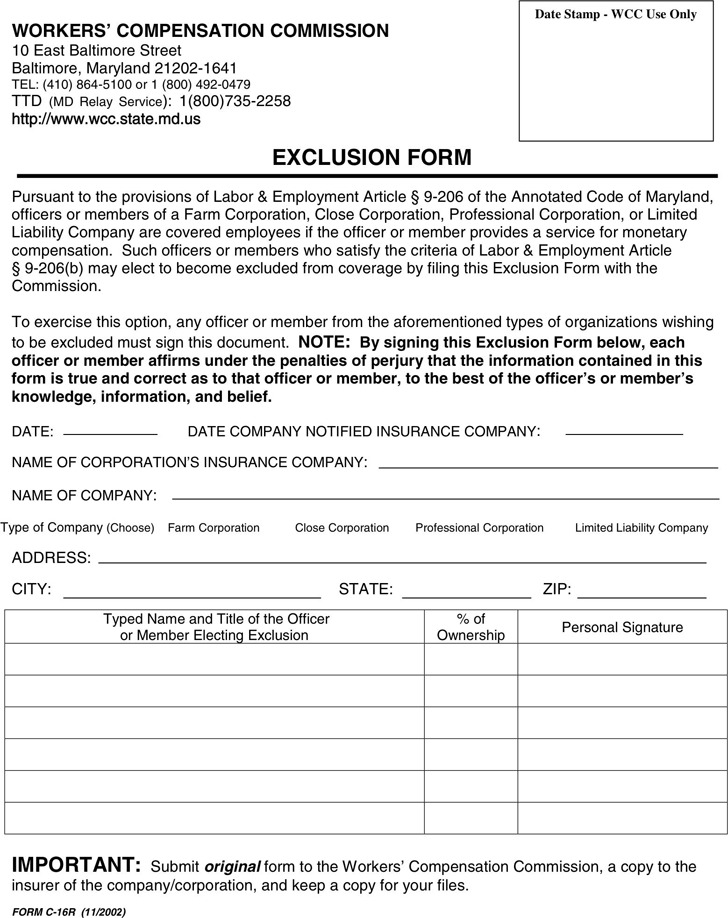 Maryland Workers' Compensation Commission Exclusion Form