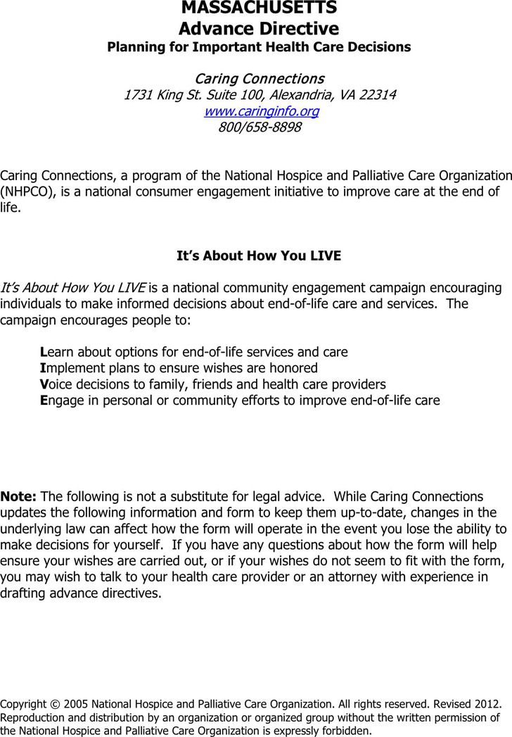 Massachusetts Advance Health Care Directive Form