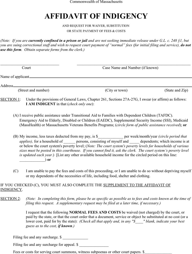 Massachusetts Affidavit of Indigency