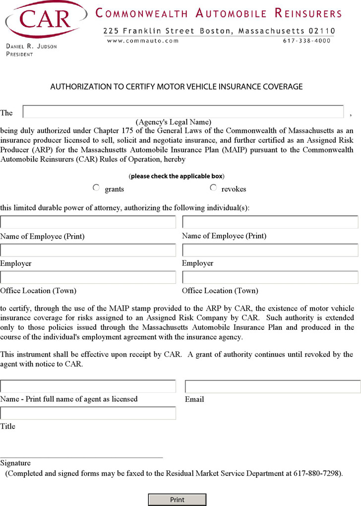 Massachusetts Authorization to Certify Motor Vehicle Insurance Coverage Form