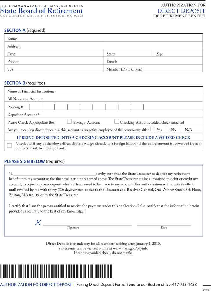 Massachusetts Direct Deposit Form 1