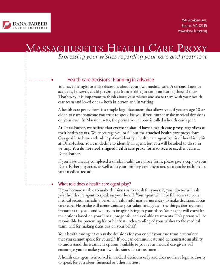 Massachusetts Health Care Proxy Form 2