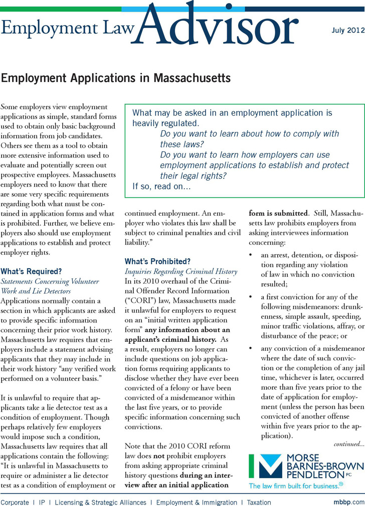 Massachusetts job Application Form 2