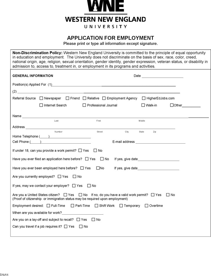 Massachusetts job Application Form 3