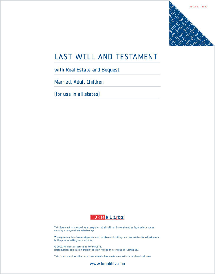 Massachusetts Last Will and Testament Form