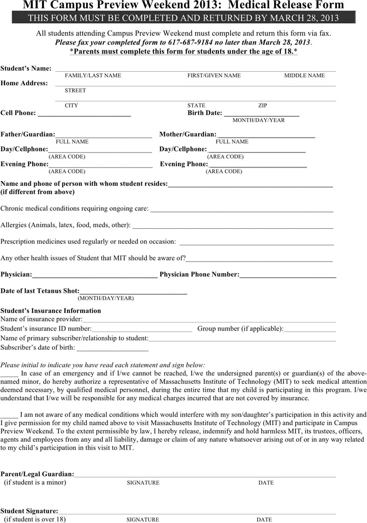 Massachusetts Medical Release Form 2