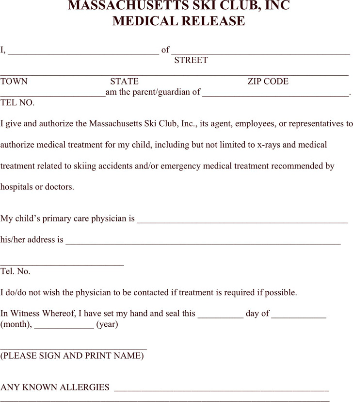 Massachusetts Medical Release Form 3