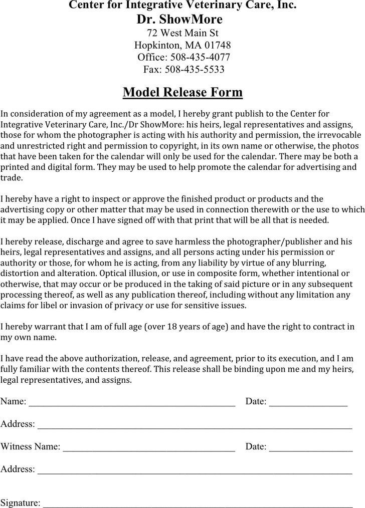 Massachusetts Model Release Form 1