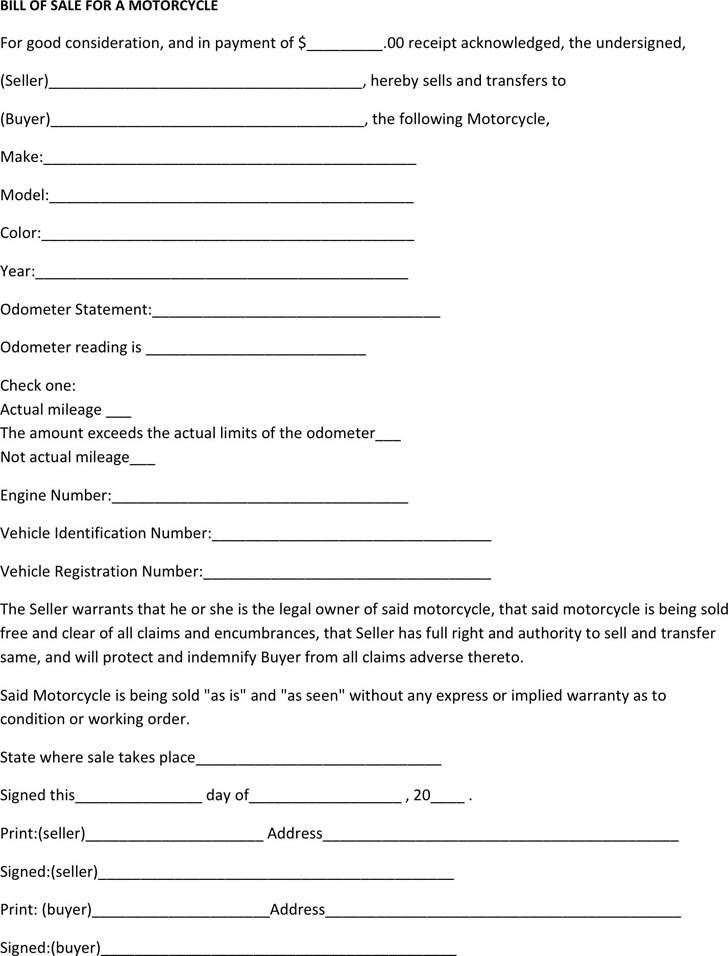 Massachusetts Motorcycle Bill of Sale Form