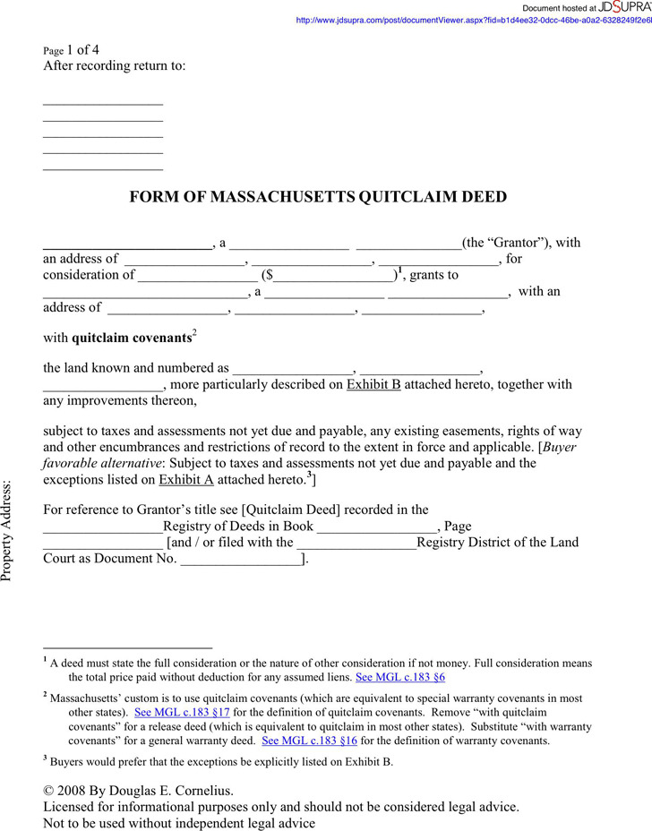 Massachusetts Quitclaim Deed Form 1