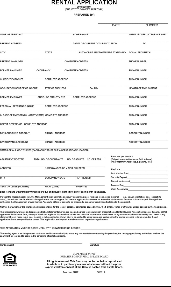 Massachusetts Rental Application