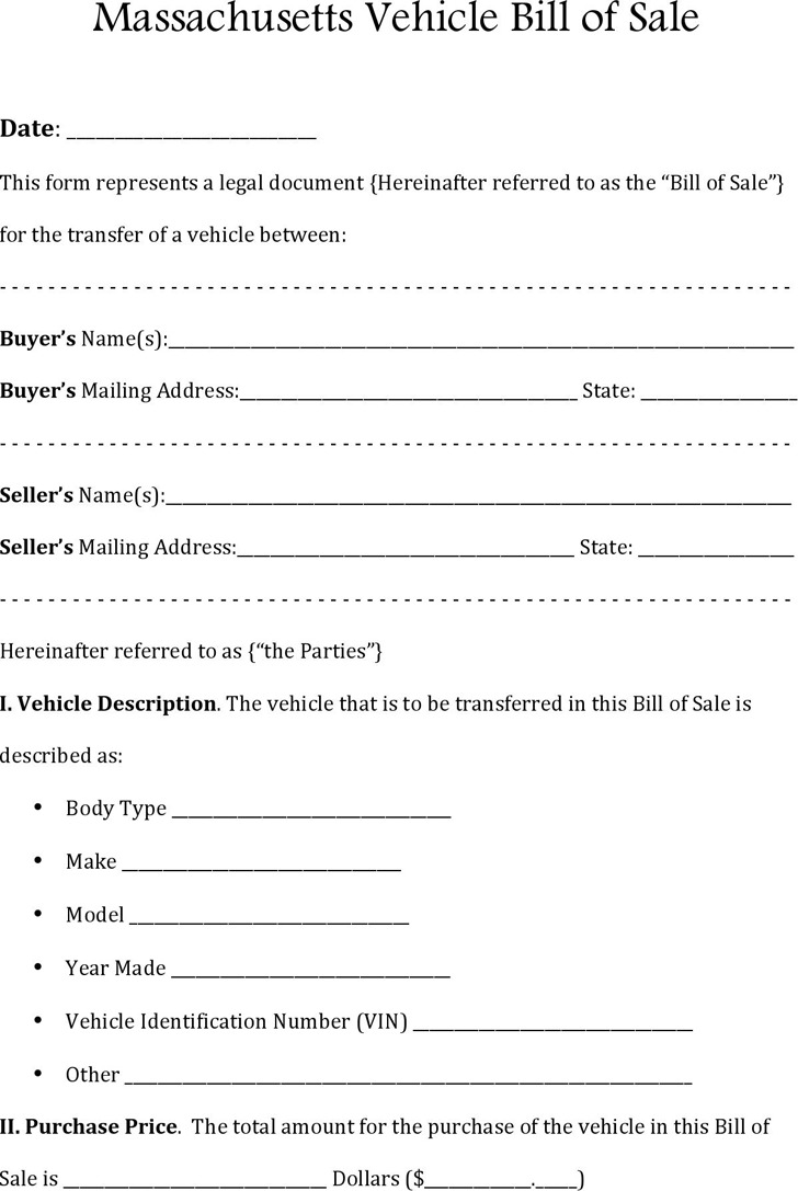 Massachusetts RMV Bill of Sale