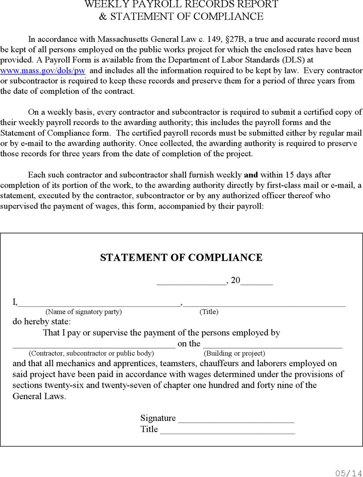 Massachusetts Statement of Compliance