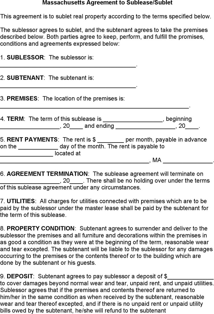 Massachusetts Sublease Agreement Form