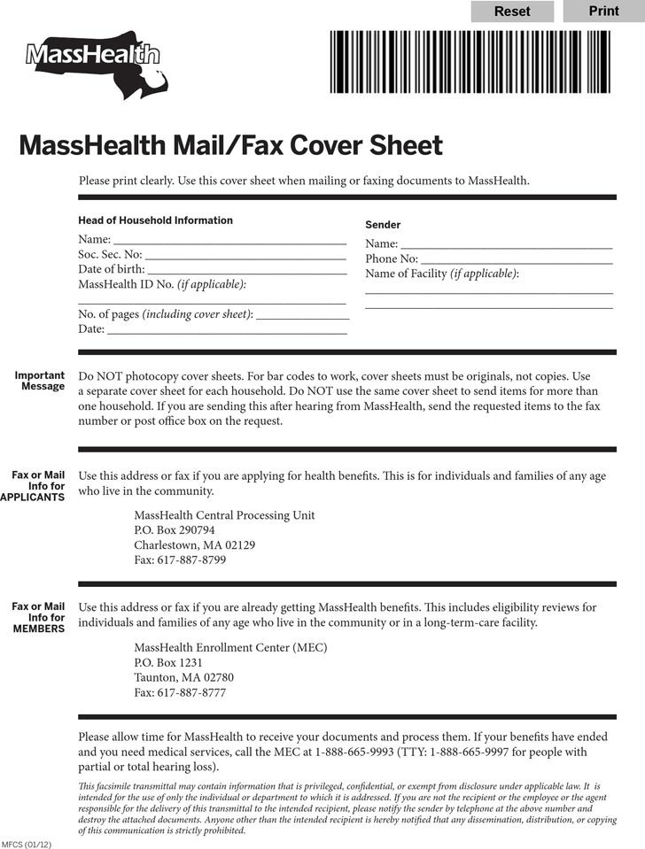 Masshealth Fax Cover Sheet | Download Free & Premium Templates