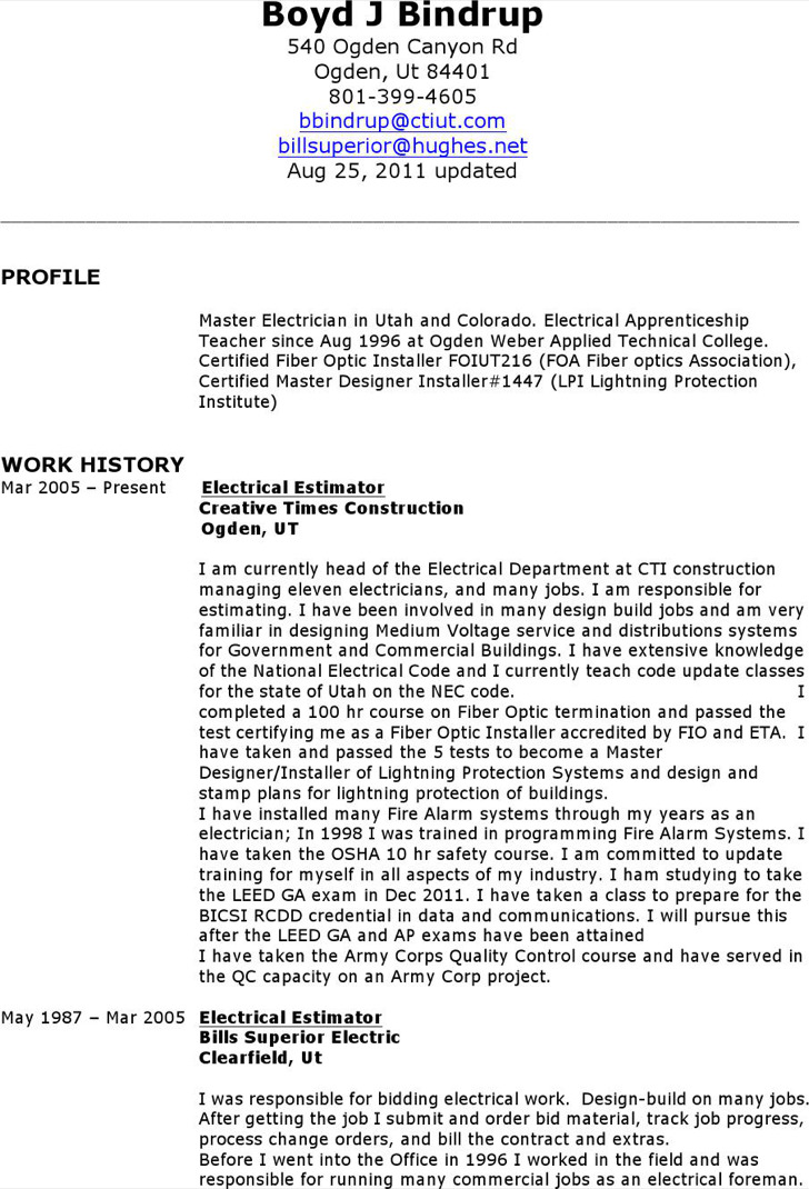 electrician resume format free download iti templates job sample