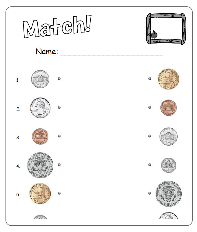 Match Money Worksheets For Kids Template