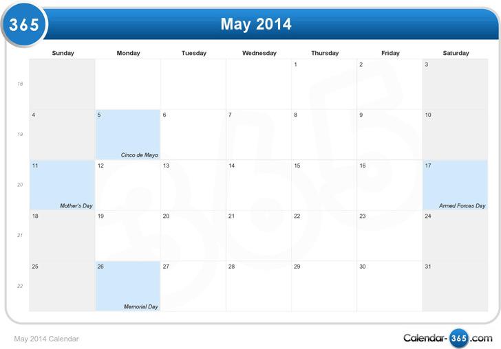 May 2014 Calendar 1