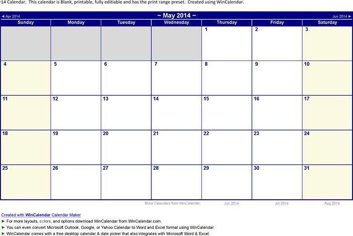 May 2014 Calendar 3