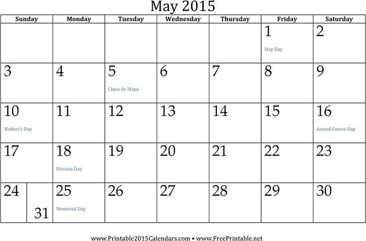 May 2015 Calendar 1
