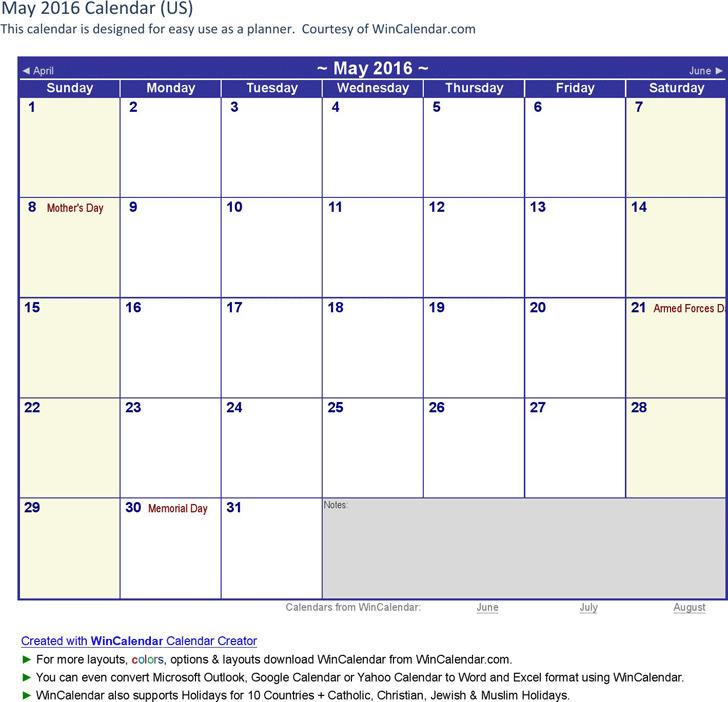 May 2016 Calendar 1