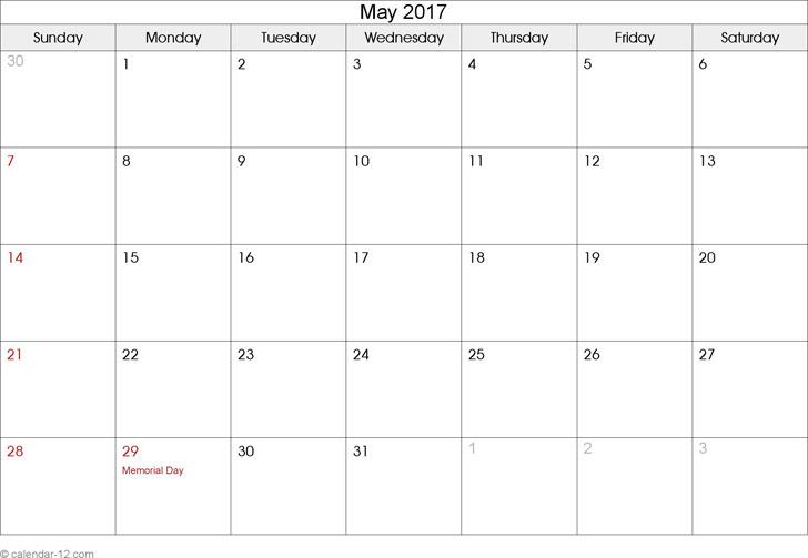 May 2017 Calendar 2
