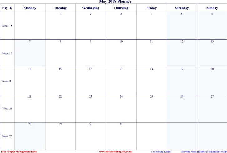 May 2018 Calendar 3