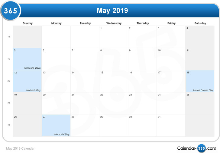 May 2019 Calendar 2