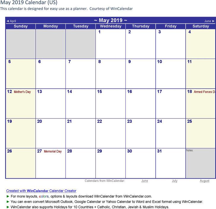 May 2019 Calendar 3