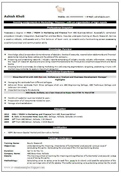 MBA Profession CV Format Template