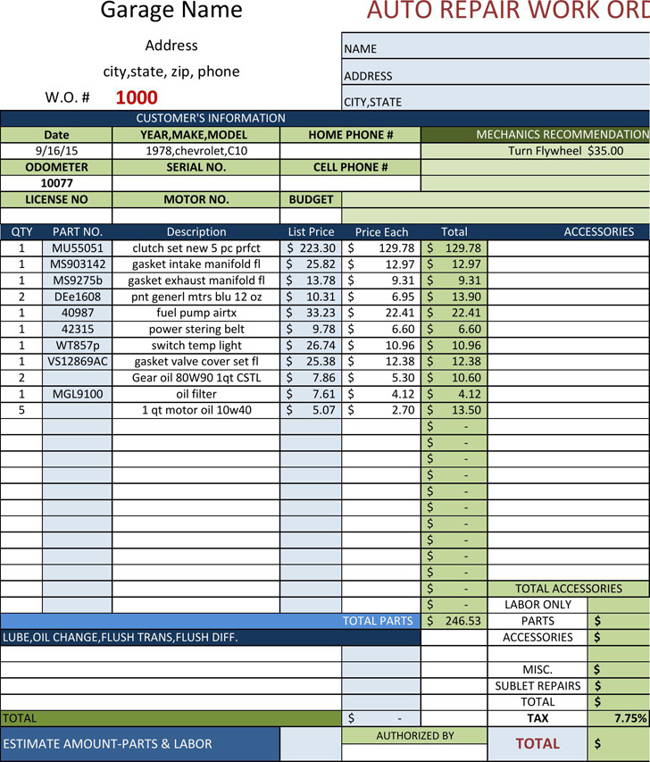 Auto repair invoice download free premium templates for Bureau automotive repair