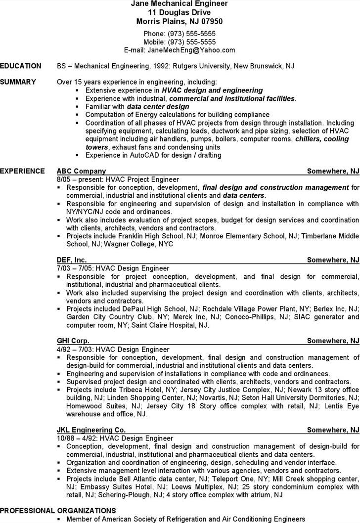 mechanical engineer hvac resume free pdf download