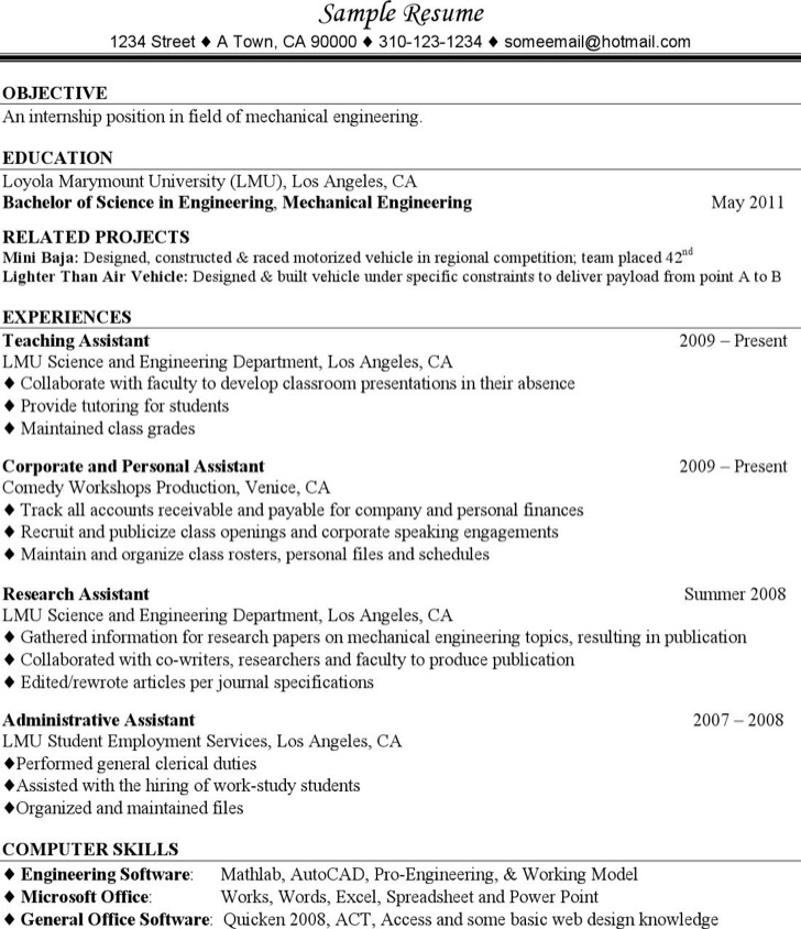 Mechanical Engineering Resume For Experience