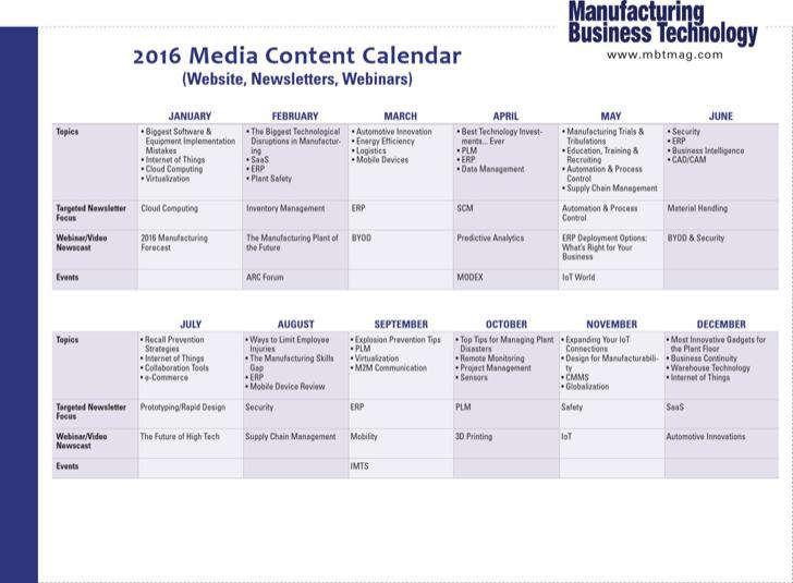 Media Content Calendar