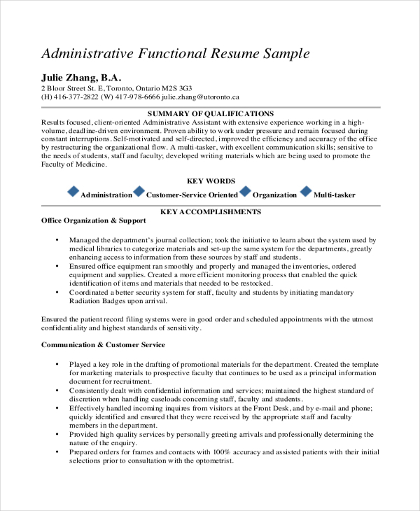 medical administrative assistant functional resume sample