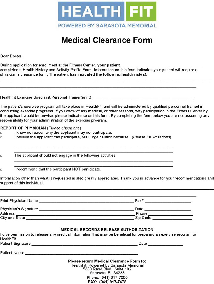 Medical Clearance Form 2