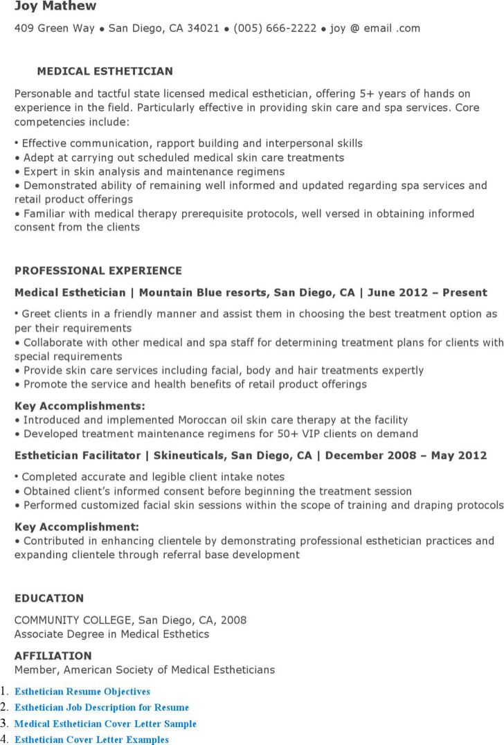medical esthetician resume sample objective template download templates free premium