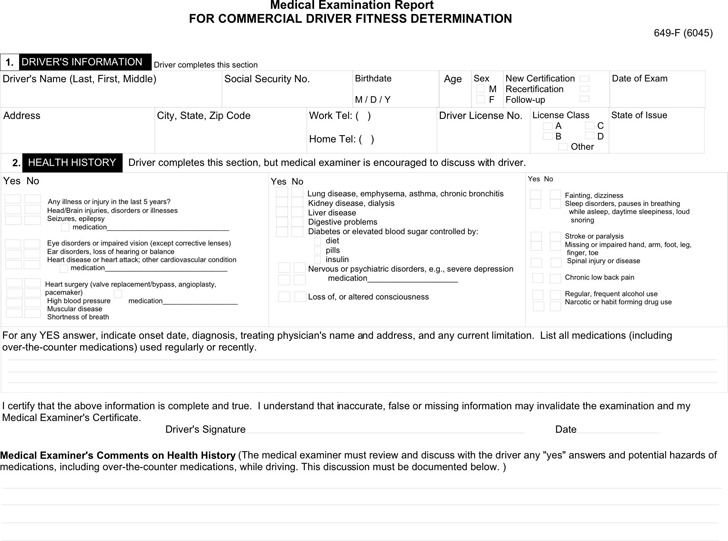 Medical Examination Report For Commercial Driver Fitness Determination