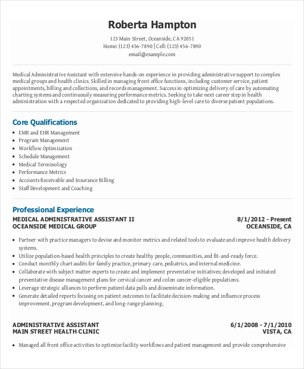 Medical Executive Office Administrative Assistant Resume