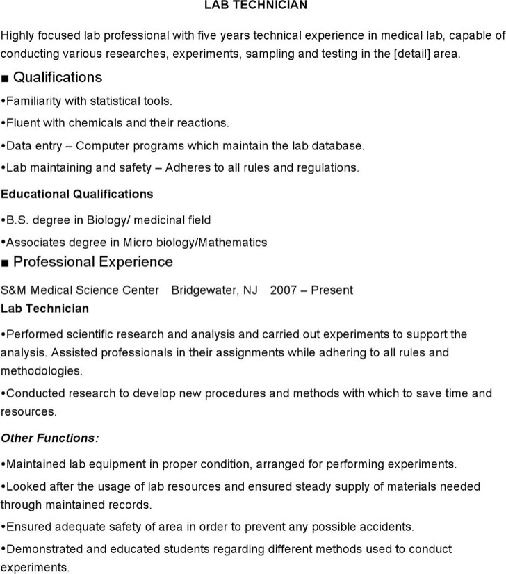 medical lab technician resume - Lab Tech Resume