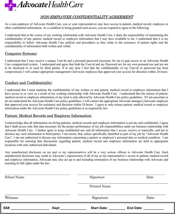 Medical Confidentiality Agreement Templates  Download Free