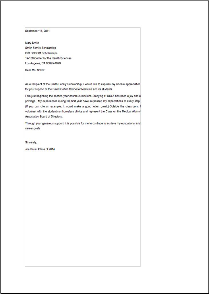 Medical School Scholarship Thank You Letter