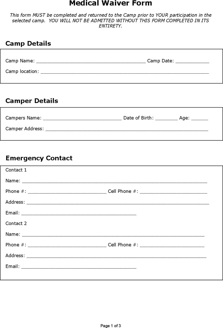 Medical Waiver Form  Download Free  Premium Templates Forms