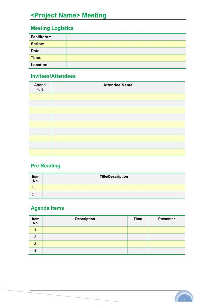 Meeting Agenda Minutes Formal Template Word Doc