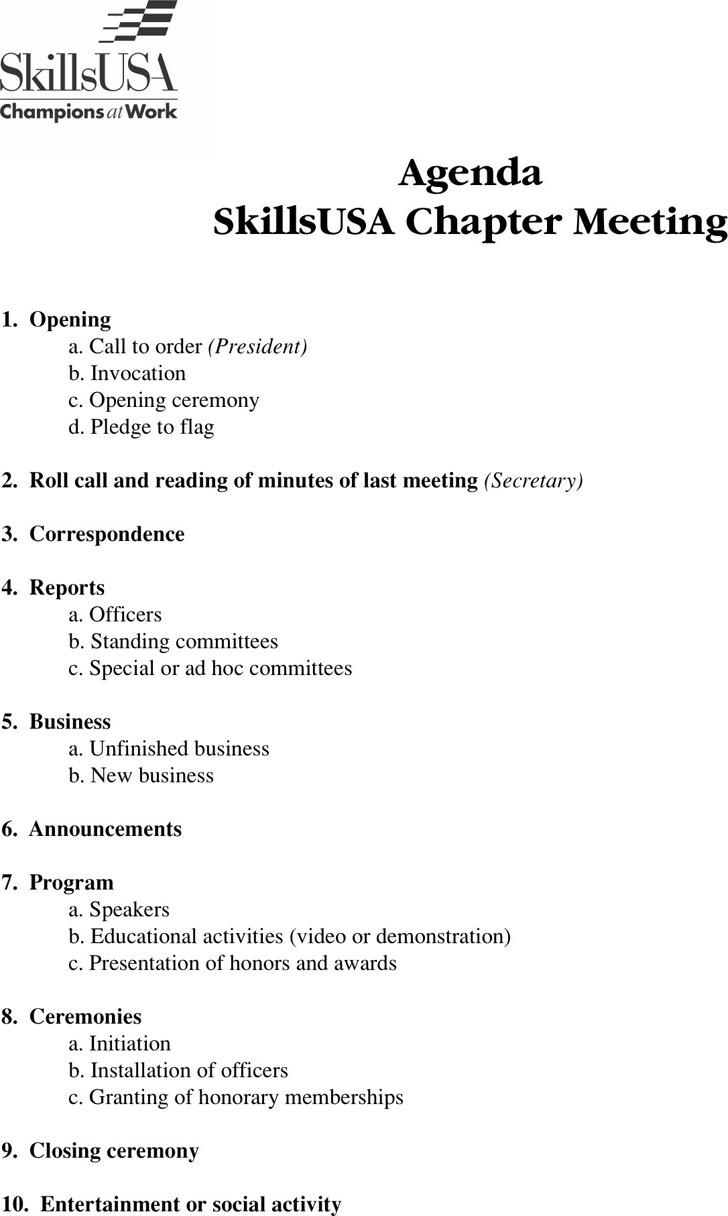 Sample Agenda Templates  Meeting Program Sample