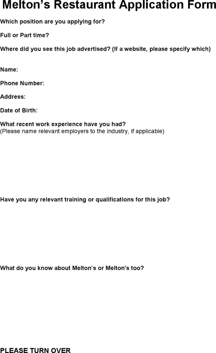 Meltons Restaurant Application Form Pdf